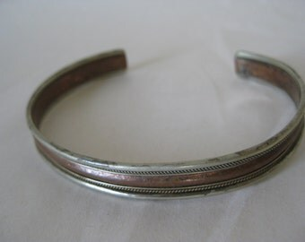 Copper Silver Bracelet Cuff Vintage