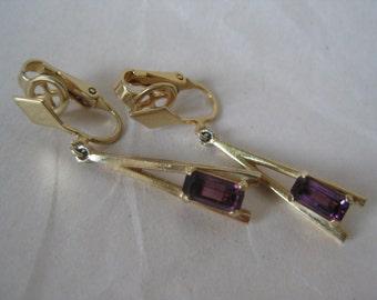 Purple Amethyst Modern Earrings Clip Vintage Stone Avon Dangle