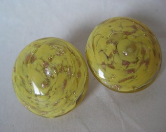 Yellow Copper Glass Earrings Clip Round Vintage