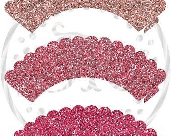 Cupcake, Cupcake Wrappers, Faux Glitter, Barbie Pink Inspired Cupcake Holder, DIGITAL CUPCAKE WRAPPER, Cupcake Holders, Printable Wrappers