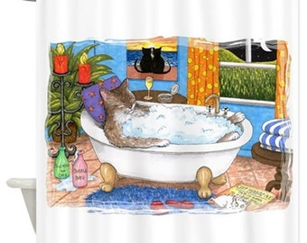 Funny Shower Curtains, Art Shower Curtain Bathroom Bath Cat 567 art painting L.Dumas