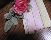 Wow ..Lowered Price ..Lace Trim, Eyelet Ribbon Lot Pink and Yellow Trim, 10 Yards