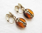 Vintage Amber Glass Drop Earrings Costume Jewelry E6713