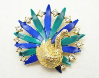 Rhinestone Peacock Brooch Vintage Bird Jewelry P6707
