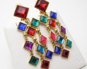 Long Colorful Earrings Over 3 Inches Long Vintage Jewelry E6752