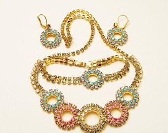 Vintage Rhinestone Jewelry Set Circles S5486