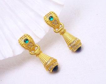 Long Pendant Earrings Etruscan Style Rhinestone Vintage Jewelry E6781