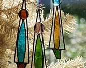 Icicle, Christmas Tree, Ornaments, Frosted Stained Glass. Retro Colors