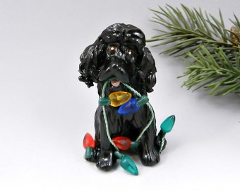 Cocker Spaniel Black Christmas Ornament Figurine Lights Porcelain