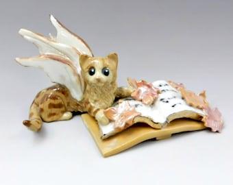 Cat Fairy Figurine Orange Tabby Fall Leaves Magical Book Porcelain OOAK