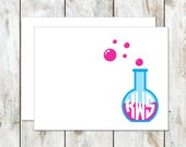 Science Teacher Gift - Monogrammed Stationery Cards - Beaker Folded Notes - Folded Stationery - Stationery folded Cards