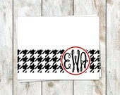 Houndstooth Curvy Monogram Stationery Set - National Champions Stationery - Roll Tide Note Cards