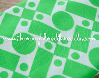 Mod Geometric - New Old Stock  Vintage Fabric 60s 70s Dots Squares Shapes Bright Green