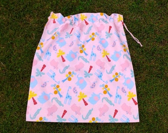 Pink jungle animals cotton drawstring bag, kindy sheet, toy or library bag for girls