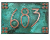 "American Craftsman Arts and Crafts font with 4on4 square border Bungalow name or address plaque 12"" W x 8"" H"