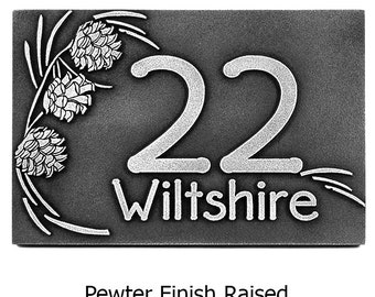 Pine Cone Address Numbers, Pine Plaque, Pine Cone Welcome sign, Welcome Sign 12x8