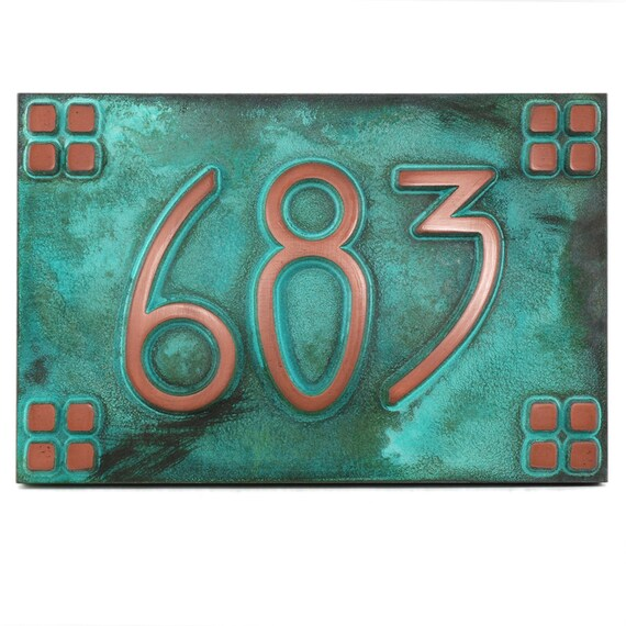 """American Craftsman Arts and Crafts font with 4on4 square border Bungalow name or address plaque 12"""" W x 8"""" H"""