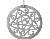 Astrological Star Pentacle Sterling Silver Pendant -- Complimentary Ribbon or Cord