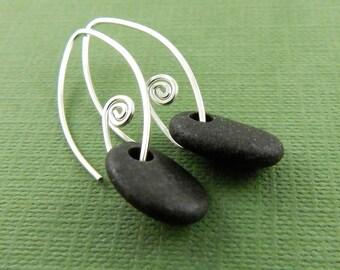 Gifts for her! Beach stone earrings, black stone earrings, handmade sterling silver fiddlehead earwires, ready to ship.