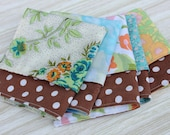 Napkins Lunchbox Set of 5 Vintage Fabric Brown Floral Dots