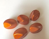 5ct Metallic Orange Acrylic Oblong Beads- approx 25mm