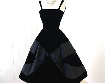 vintage 1950's dress ...decadent dior inspired SUZY PERETTE new york black velvet and grosgrain full skirt pin-up cocktail party prom dress