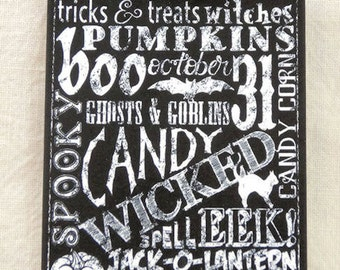 Halloween Subway Word Art Chalkboard Gift or Scrapbook Tags or Magnet #237