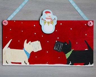 Scottish Terrier Winter Door Decoration JOY