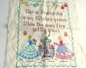 Embroidered Kitchen Friendship Cross Stitch Sampler--RESERVED FOR ZENAIDA