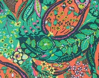 Cotton Amy Butler Sateen Cotton Jolie in Tangerine from the Glow Collection 1/2 Yard
