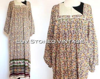 Vintage 80s Indian Ethnic Embroidered Cotton Boho Hippie India Gypsy Festival Tent Midi Maxi Dress | large | 1090.8.24.15