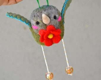 Needle Felted Wool HUmmingbird Ready to ship