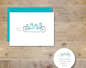 Wedding Thank You Cards, Tandem Bicycle, Tandem Bike, Wedding, Thank You Notes, Just Married, Bikers, Bike for Two, Wedding Thank You Notes