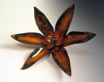 Unique OOAK Flower Brooch Vitreous Enamel Orange