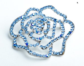 Large Rose Pin, Light Sapphire/Light Sapphire AB  B4090.32