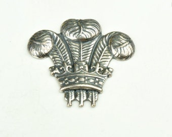 Crown with feathers, classic silver, sold in pack of 6, USA made 13178