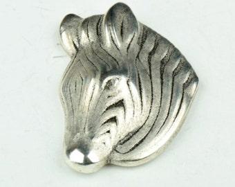Zebra Pendant 2 ea  silver antique color, flat back, 2ea