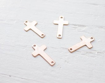 Rose Gold Filled Sideways Cross Charm Pink Gold Crosses (LHGFR1044)