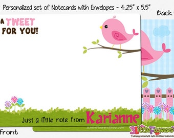 """Bird Note Cards - Set of Personalized Note Cards - 4.25"""" x 5.5"""" - Double-Sided Thank you Cards - Children Stationery - Kids Notecards"""