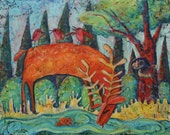 Thirsty Deer original  abstract expressionist painting on 24 x 30 canvas ,  modern contemporary, primitive raw folk art