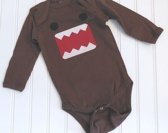 READY TO SHIP Great Costume / Baby Shower Gift Domo Inspired long sleeve bodysuit sewn cotton applique