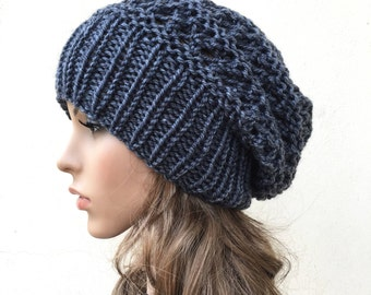 Buy 1 get 2nd for 19.99-Hand knit hat - Oversized Chunky Wool Hat, slouchy hat in Charcoal