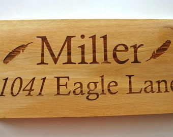 Address Sign Custom Engraved Cedar Sign Laser Engraved Wood Family Sign Personalized Bar Sign