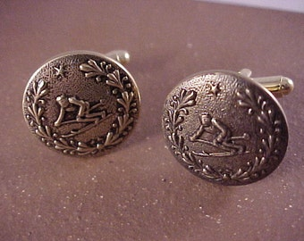 SALE Gold Skier Cuff Links Vintage Clothing Buttons - Free Shipping to USA