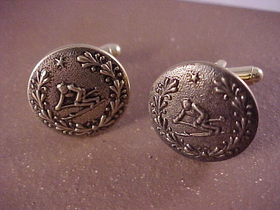 gold skier cuff links vintage clothing buttons