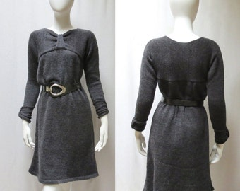 Hand Knit  Wool Sweater/Tunic Dress w/ Leather Belt - Simple and Elegant
