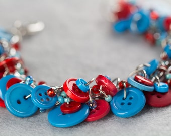Button Charm Bracelet / Red and Turquoise Blue Jewelry / Fun Blue and Red Piece by randomcreative on Etsy