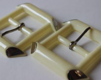 Vintage Rectangular Belt Buckle Make Your Own Belt Rectangular 1960's Off White DIY Set of 2