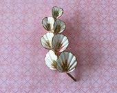 Vintage white enamel Blossom Flower with green center cottage or shabby chic jewelry