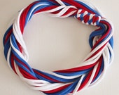 T Shirt Scarf - Infinity Circle Scarves Recycled Cotton - Royal Blue White Red Minnesota Twins Patriots USA Cubs Chicago New York Giants
